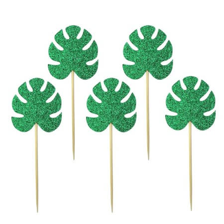 Glittery Green Palm Leaf Cake Toppers I Hawaiian Party Decorations I My Dream Party Shop I UK