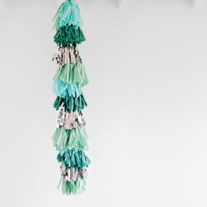 Emerald Green, Mint, White and Silver Tassel Garland - My Dream Party Shop