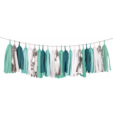 Luxury Green, White and Silver Tissue Tassel Garland - My Dream Party Shop