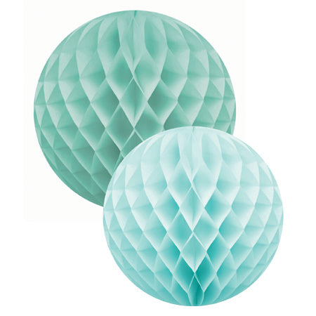 Pastel Green and Mint Green Honeycomb Balls Set of Two - My Dream Party Shop