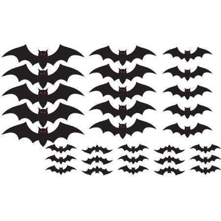 Black Bat 3d Shapes Pack of 30 I Halloween Party Decorations I My Dream Party Shop