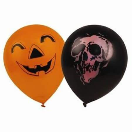 Halloween Orange Balloon with Pumpkin Face and Black Balloon with Orange Skull Face