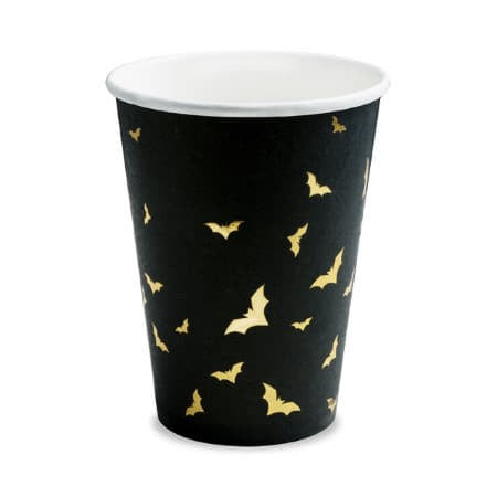 Halloween Black and Gold Bat Cups I Black Cups with Gold Foil Bat Pattern UK