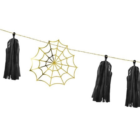 Halloween Spiderweb Garland with Gold Spider webs and Black Tassels