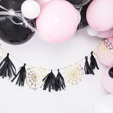 Halloween Gold Spiderweb and Black Tassel Garland I UK