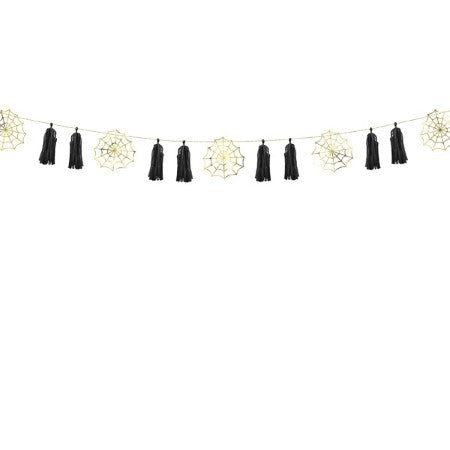 Halloween Spiderweb and Black Tassel Garland Decorations I UK