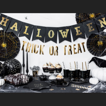 Halloween Black and Gold Garland I Modern Halloween Party Decorations I My Dream Party Shop I UK
