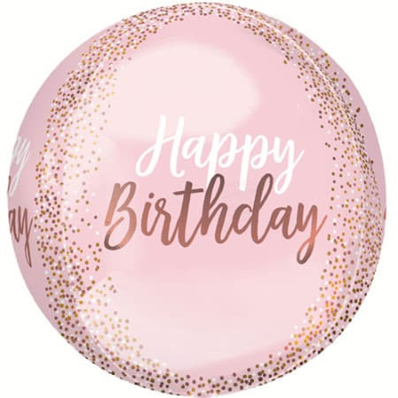 Happy Birthday Blush Orbz 16 Inches I Rose Gold and Blush Party Supplies I My Dream Party Shop