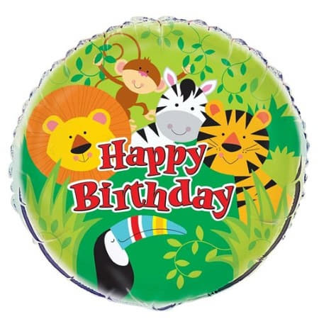 Happy Birthday Jungle Animals Balloon I Happy Jungle Party I My Dream Party Shop UK