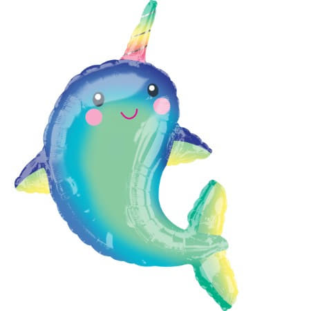 Smiling Narwhal Supershape Foil Balloon I Under the Sea Party I My Dream Party Shop