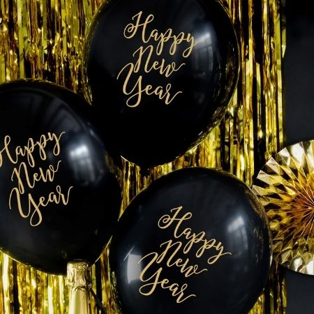 Black Happy New Year Balloons I New Year's Eve Party I My Dream Party Shop UK