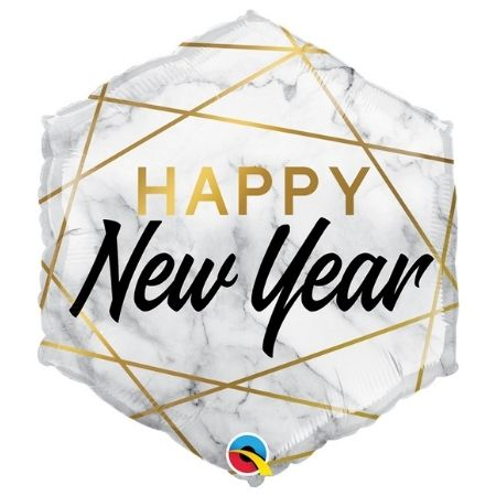 Happy New Year Marble Hexagon Balloon I New Year's Eve Party I My Dream Party Shop