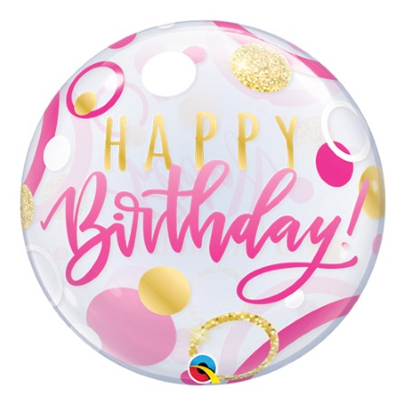 Happy Birthday Pink and Gold Dots Bubble Balloon I Cool Bubble Balloons I My Dream Party Shop UK