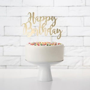 Happy Birthday Gold Mirror Cake Topper I My Dream Party Shop I UK