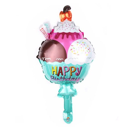 Mini Ice Cream Sundae Dessert Happy Birthday Foil Balloon I Cool Foil Balloons I Ice Cream Party I My Dream Party Shop I UK