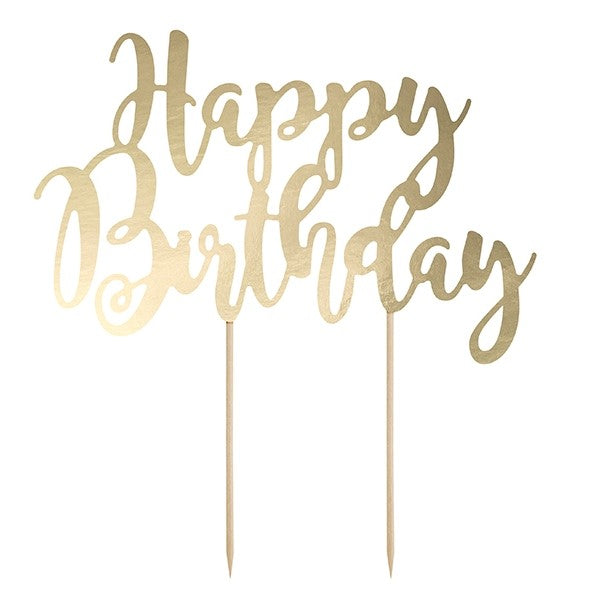 Happy Birthday Gold Cake Topper I Modern Cake Toppers I UK