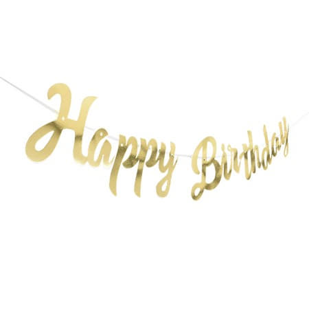 Gold Foil Happy Birthday Garland I Modern Birthday Party Decorations I My Dream Party Shop I UK