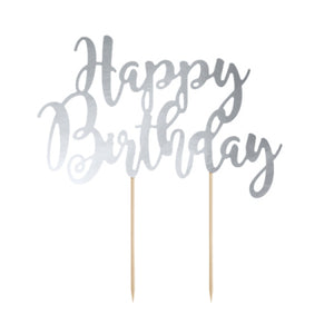 Happy Birthday Silver Mirror Cake Topper I My Dream Party Shop I UK