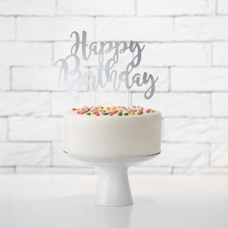 Happy Birthday Silver Cake Topper I Pretty Cake Toppers I My Dream Party Shop I UK