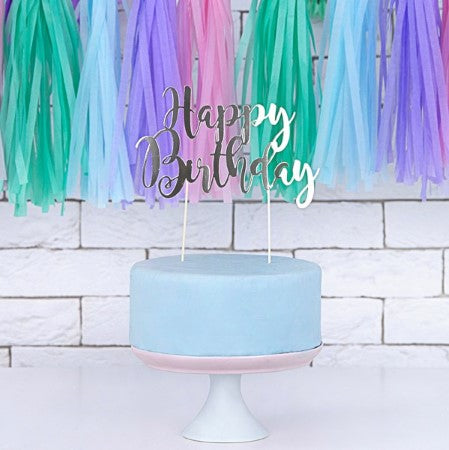 Silver Happy Birthday Cake Topper I Modern Cake Toppers I My Dream Party Shop I UK