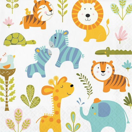 Happy Jungle Animal Napkins I 1st Birthday Tableware I My Dream Party Shop UK