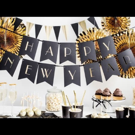 Black and Gold Happy New Year Banner I Black Banner with Gold Writing I UK