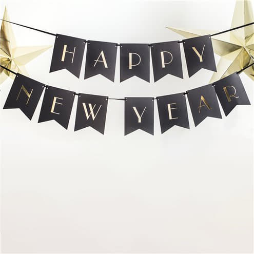 Black Happy New Year Banner with Gold Foil Wording I UK