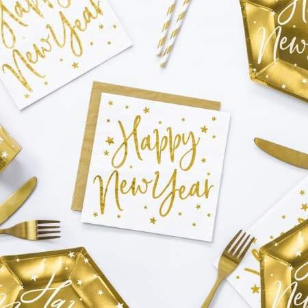 White and Gold Foil Happy New Year Napkins I UK