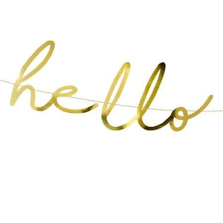 Gold Hello Baby Garland I Cool Baby Shower Accessories I UK