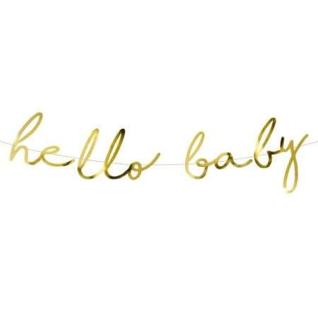 Gold Hello Baby Garland I Modern Baby Shower Decorations I UK