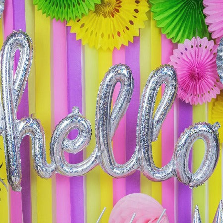 Hello Silver Holographic Balloon I Cool Phrase Balloons I My Dream Party Shop I UK