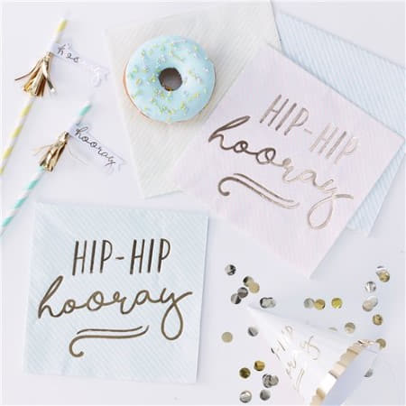 Hip Hip Hooray Gold Foil and Pastel Party Napkins I Pick and Mix Ginger Ray I My Dream Party Shop I UK