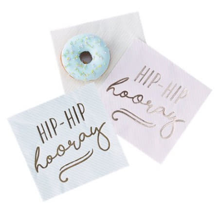 Hip Hip Hooray Gold Foil and Pastel Napkins I Pick and Mix Ginger Ray I My Dream Party Shop I UK