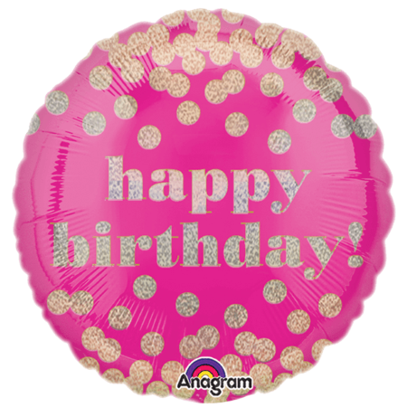Hot Pink and Gold Happy Birthday Balloon I Happy Birthday Balloons I My Dream Party Shop UK