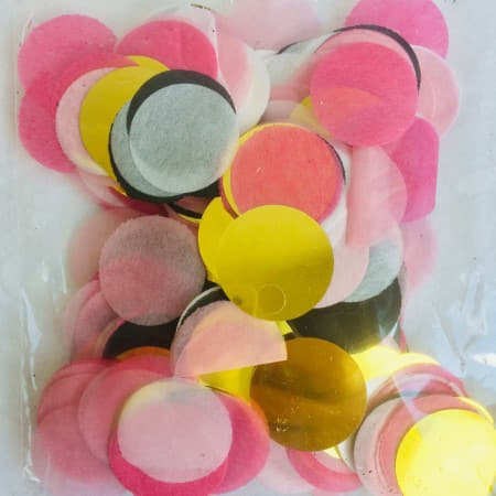 Pink, White, Black and Gold Circle Confetti I Pretty Table Decorations I My Dream Party Shop I UK