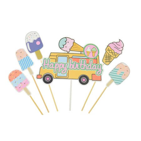 Ice Cream Party Cake Topper Set I Ice Cream Party Tableware and Cake Decorations I My Dream Party Shop I UK