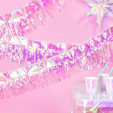 Iridescent Metallic Background Fringe Curtain I My Dream Party Shop I UK
