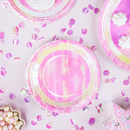 Large Iridescent Round Party Plates I My Dream Party Shop I UK