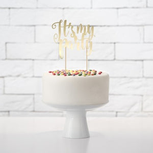 It's My Party Gold Mirror Cake Topper I My Dream Party Shop I UK