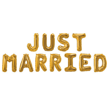 Gold Just Married Balloon Bunting I Modern Wedding Decorations I My Dream Party Shop UK