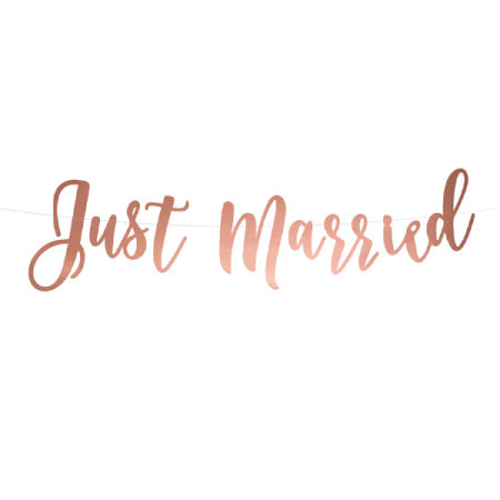 "Rose Gold ""Just Married"" Wedding Banner I My Dream Party Shop I UK"