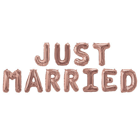 Rose Gold Just Married Balloon Bunting I Cool Wedding Decorations I My Dream Party Shop I UK