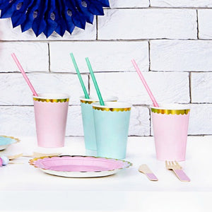 Pastel Blue Paper Cups with Gold Metallic Edge - My Dream Party Shop