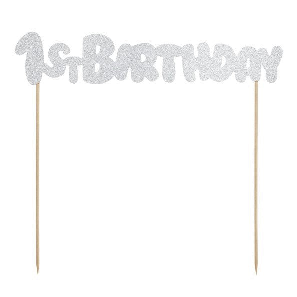 1st Birthday Silver Glittery Cake Topper I My Dream Party Shop I UK