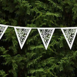 Vintage White Lace Effect Party or Wedding Bunting Garland - My Dream Party Shop