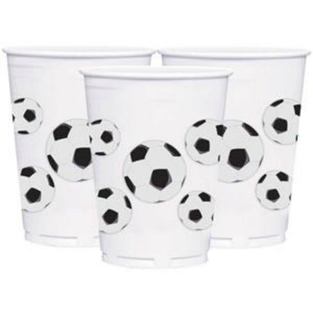 Large Plastic Black and White Football Party Cups - My Dream Party Shop