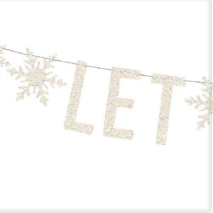 """Let It Snow"" Frozen Holographic White Banner I My Dream Party Shop I UK"