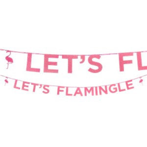 Let's Flamingle Pink Glitter Banner I Flamingo Party Decoration I My Dream Party Shop I UK