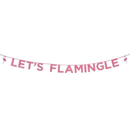 Let's Flamingle Pink Glitter Garland I Flamingo Party Decoration I My Dream Party Shop I UK