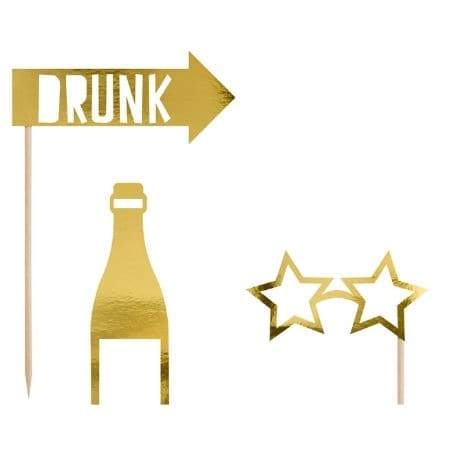 Lets Celebrate Gold Photo Props I Cool Party Games I UK
